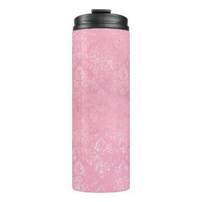 Iridescent Pink Damask Thermal Tumbler