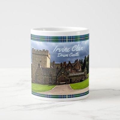 Irvine/Irving Clan's Drum Castle & Tartan Giant Coffee Mug