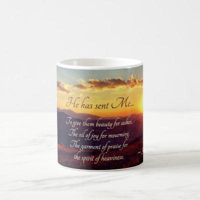 Isaiah 61:3 Beauty for Ashes, Bible Verse Coffee Mug