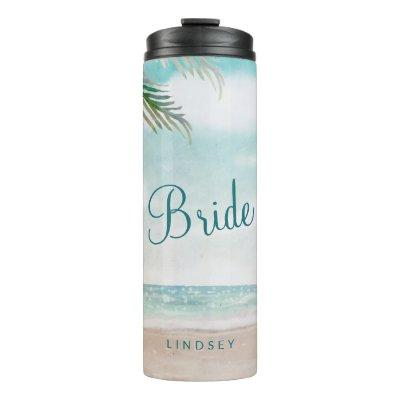 Island Breeze Painted Beach Personalized Bride Thermal Tumbler