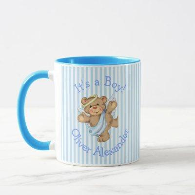 Its a Boy Custom Teddy Bear Angel Mug
