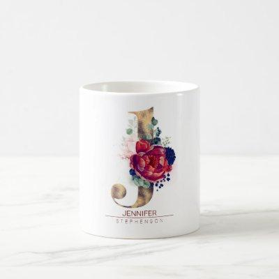 J Monogram Floral Burgundy Red and Navy Blue Coffee Mug
