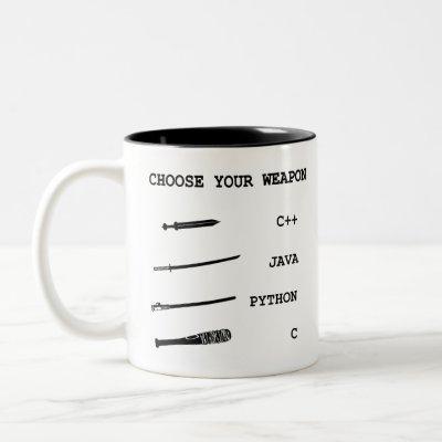 Java vs C++ vs Python vs C Programming Language Two-Tone Coffee Mug