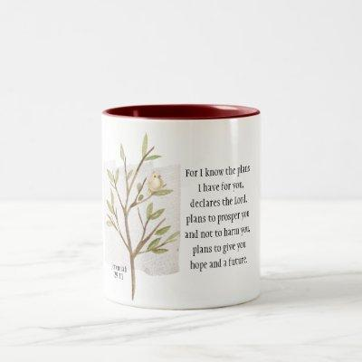 Jeremiah 29:11 For I know the plans I have for you Two-Tone Coffee Mug