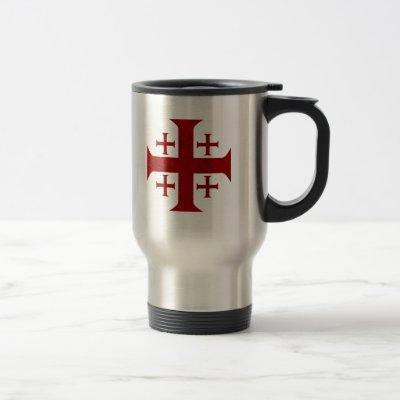 Jerusalem Cross, Distressed Travel Mug