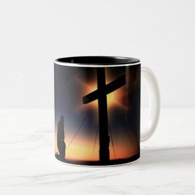 Jesus Christ Crucifixion Cross Two-Tone Coffee Mug