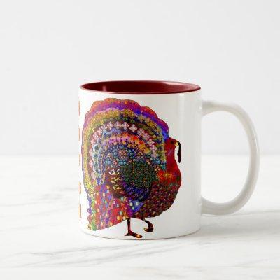 Jeweled Turkey Two-Tone Coffee Mug