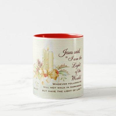 John 8:12 Jesus said, I am the Light of the World Two-Tone Coffee Mug