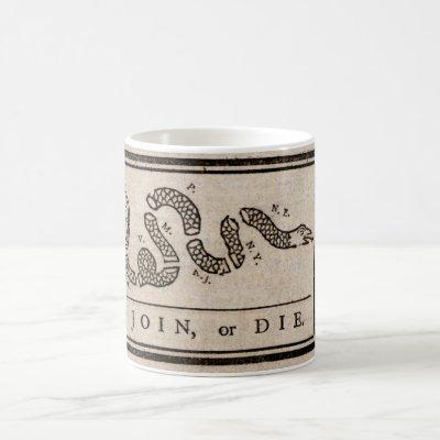 Join or Die Political Cartoon by Benjamin Franklin Coffee Mug