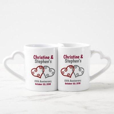 Joined Hearts Milestone Anniversary Coffee Mug Set