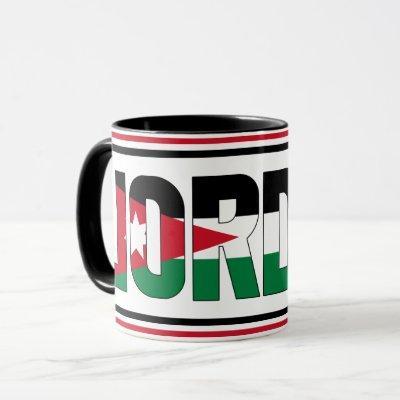 Jordan Flag Inscription Black Red White Green Mug