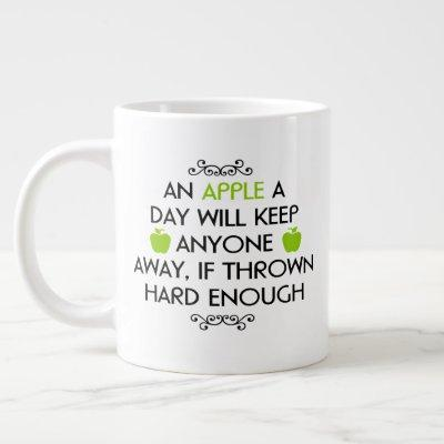 "Jumbo size mug with ""An Apple a Day"""