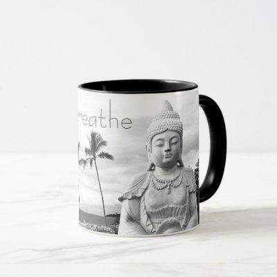 """Just Breathe"" Hawaii Buddha Black & White Photo Mug"