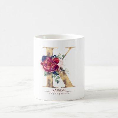 K Monogram Floral Burgundy Red and Navy Blue Coffee Mug