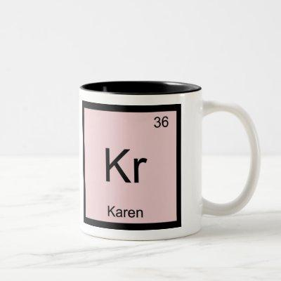 Karen  Name Chemistry Element Periodic Table Two-Tone Coffee Mug