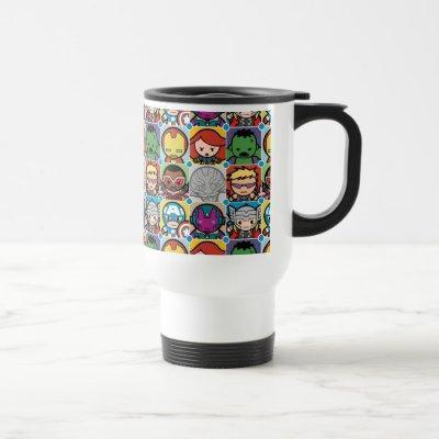 Kawaii Avengers Vs Ultron Pattern Travel Mug