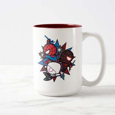 Kawaii Spider-Man, Ghost-Spider, & Miles Morales Two-Tone Coffee Mug