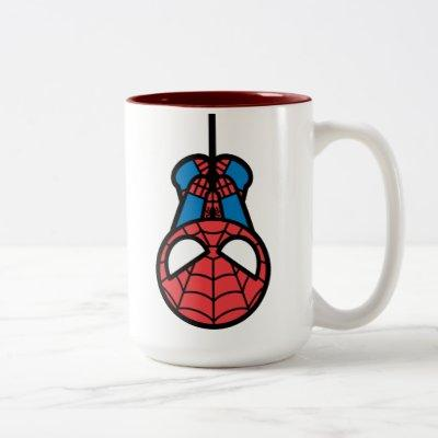 Kawaii Spider-Man Hanging Upside Down Two-Tone Coffee Mug