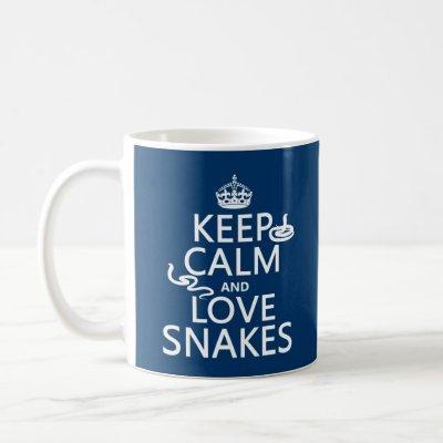 Keep Calm and Love Snakes (all colors) Coffee Mug