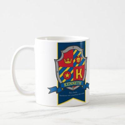 Kenneth knight shield red blue name meaning lion coffee mug