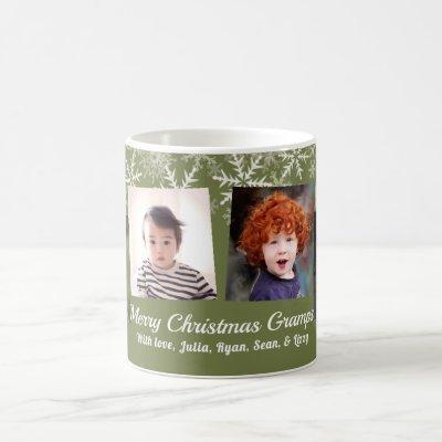 Khaki Green Photo Collage Snowflakes Christmas Coffee Mug