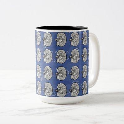 Kidneys, blue, Two-Tone coffee mug