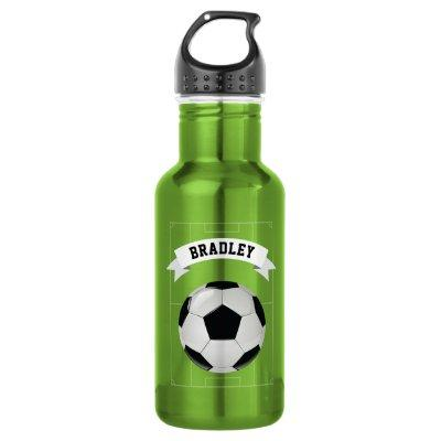 Kids Soccer Football   Personalized Water Bottle