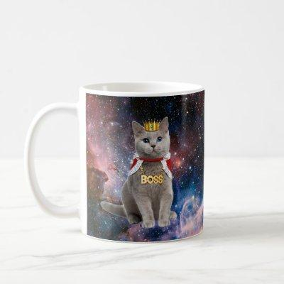 king cat in the space coffee mug