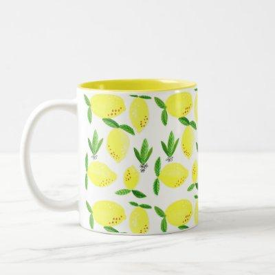 Kitchen Lemon Decor, Watercolor Fruit Decor Two-Tone Coffee Mug