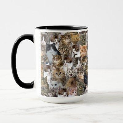 Kitty Cat Faces Pattern Mug