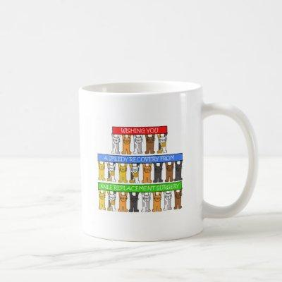 Knee Replacement Surgery Recovery Cute Cats. Coffee Mug