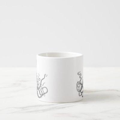 Kraken - Black Giant Octopus / Cthulu Espresso Cup