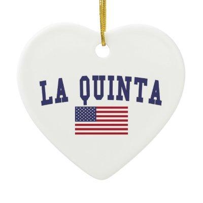 La Quinta US Flag Ceramic Ornament