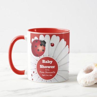Ladybug Red White Black Baby Shower Mug