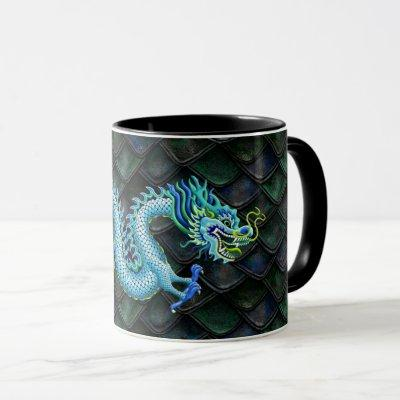 Large Blue Dragon on Dragon Scales Mug