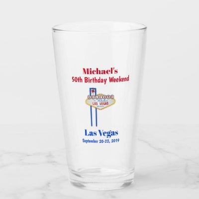 Las Vegas Milestone Birthday Party Trip Pint Glass