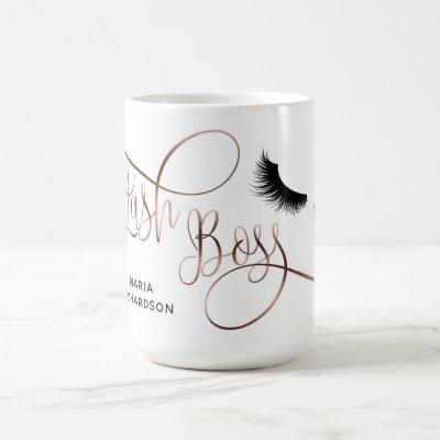 Lash Boss Makeup Eyebrow Eyes Lashes Rose Gold Coffee Mug