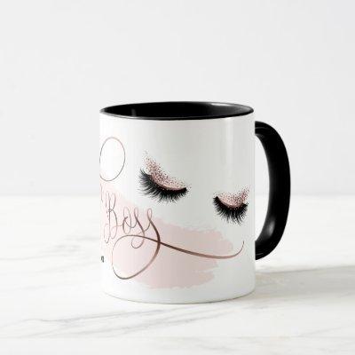 Lash Boss Makeup Eyebrow Eyes Lashes Rose Gold Mug
