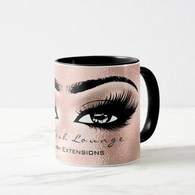 Lash Extension Eye Makeup Artist Studio Rose Gold Mug