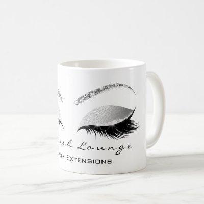 Lashes Extension Confetti Studio White Silver Gray Coffee Mug