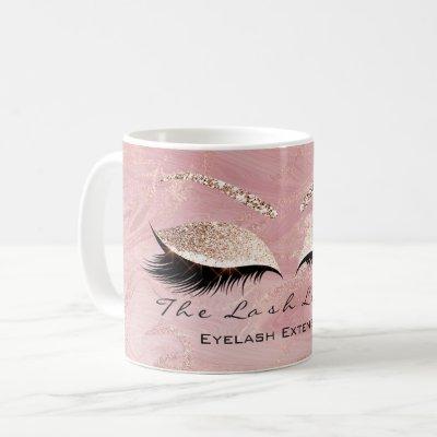 Lashes Extension Makeup Studio Pink Molten Glitter Coffee Mug