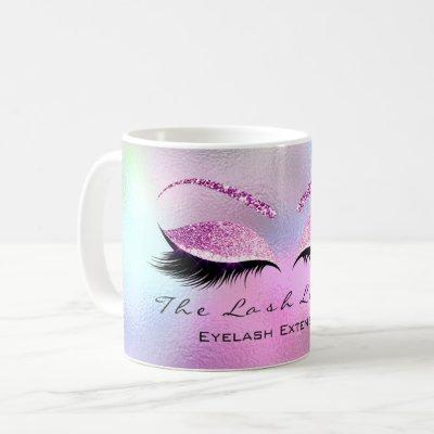 Lashes Extension Makeup Studio Pink Ombre Glitter Coffee Mug