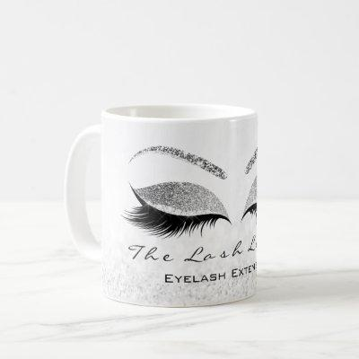 Lashes Extension White  Studio Silver Gray Glitter Coffee Mug