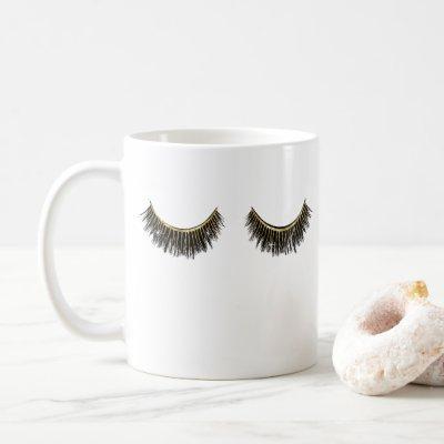Lashes Makeup Artist Chic Gold Eyelash Extensions Coffee Mug