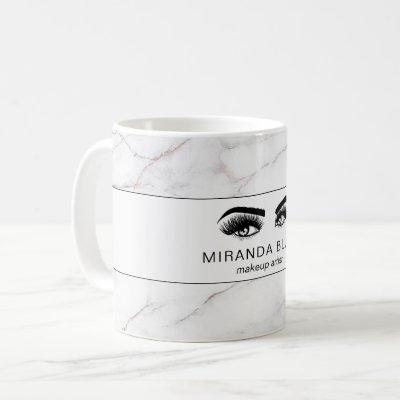 Lashes Makeup Artist Luxe White Marble Coffee Mug