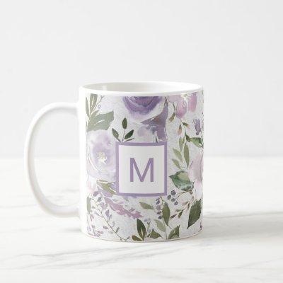 Lavender Purple Floral Roses Watercolor Monogram Coffee Mug
