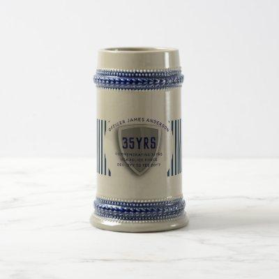 Law Enforcement Retirement Shield Personalized Beer Stein