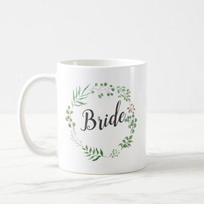 Leaf Wreath Botanical Greenery | Bride Coffee Mug