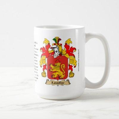 Leahy, the Origin, the Meaning and the Crest Coffee Mug