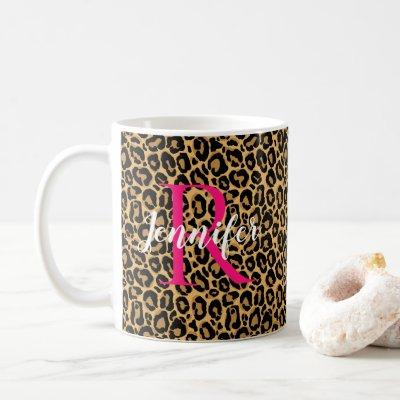 Leopard Personalise Monogram & Name Hot Pink Coffee Mug